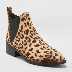 Shoes - Leopard Animal Print Pointed Toe Ankle Booties